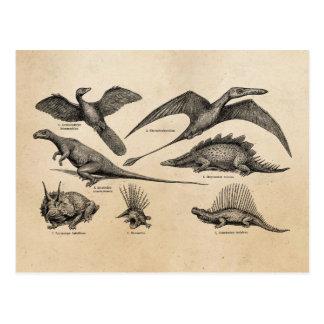Carte Postale Rétros dinosaures d'illustration vintage de