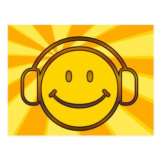 Carte Postale Rétros écouteurs souriants