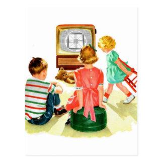 Carte Postale Rétros enfants vintages de télévision du kitsch TV
