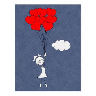 Carte Postale Rétros je t'aime coeurs de Saint-Valentin