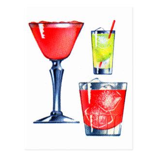 Carte Postale Rétros martini vintages de boissons de cocktails
