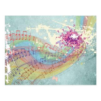Carte Postale Rétros notes d'arc-en-ciel et de musique sur une