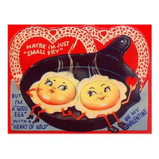 Carte Postale Rétros oeufs au plat vintages Valentine