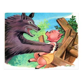 Carte Postale Rétros petits porcs et loup du kitsch trois