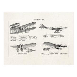 Carte Postale Rétros vieux avions d'antiquité de biplan d'avion