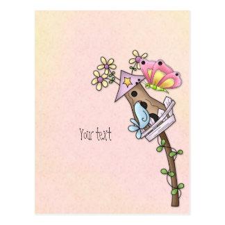 Carte Postale Réunion de papillon et d'oiseau à la volière