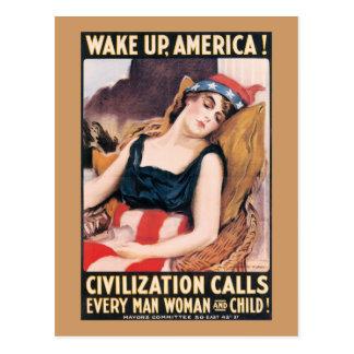 Carte Postale Réveillez l'affiche de l'Amérique WWI