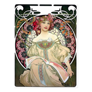 Carte Postale Rêverie 1897 d'Alfons Mucha