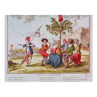 Carte Postale Révolutionnaires français dansant le carmagnole