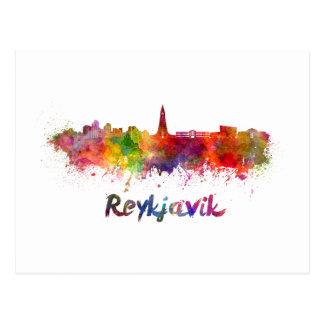 Carte Postale Reykjavik skyline in watercolor