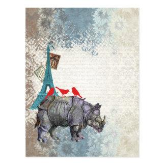 Carte Postale Rhinocéros vintage