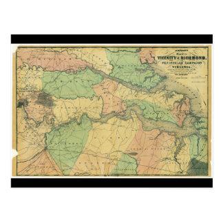 Carte Postale Richmond et campagne péninsulaire en Virginie 1864