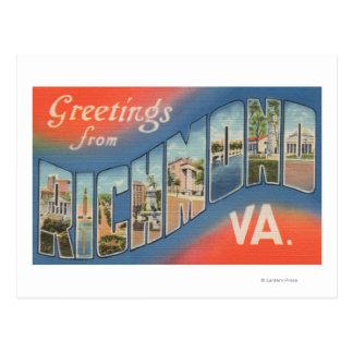 Carte Postale Richmond, la Virginie - grandes scènes 4 de lettre