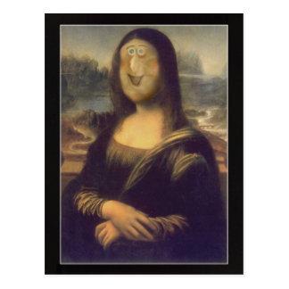 Carte Postale Rire drôle de Mona Lisa de visage