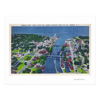 Carte Postale Rivière d'Oswego, serrures, entrée de port