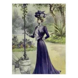 Carte Postale Robe Mode-Violette française de Dame-Cru victorien