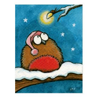 Carte Postale Robin lunatique drôle et Lueur-Insecte de fête