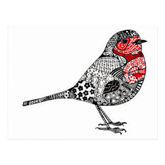 Carte Postale Robin rouge