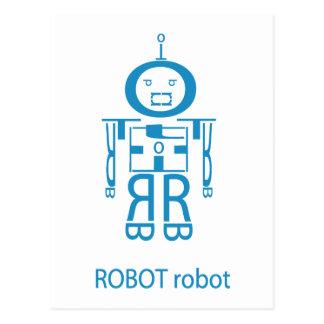 Carte Postale Robot bleu fâché