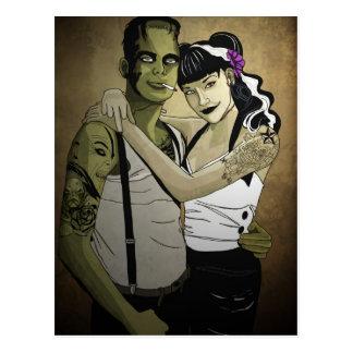 Carte Postale Rockabilly Frank et jeune mariée