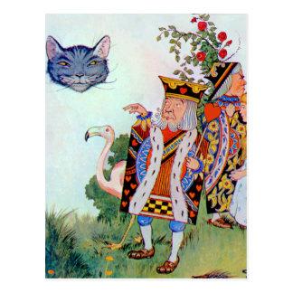 Carte Postale Roi et reine des coeurs, Alice et le chat de