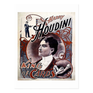 Carte Postale Roi vintage de Harry Houdini de publicité de