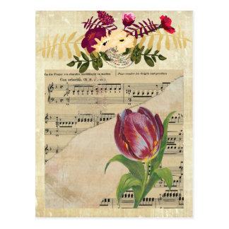 Carte postale Romance de tulipes de musique