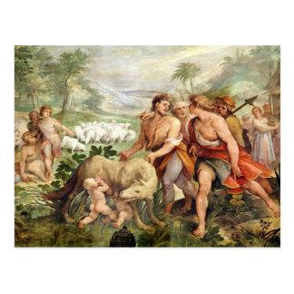 Carte Postale Romulus a allaité par le -loup