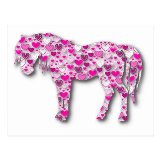 Carte Postale Rose - cheval de coeur