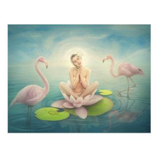 Carte Postale rose-clair lilly blanc féerique nouveau-né de