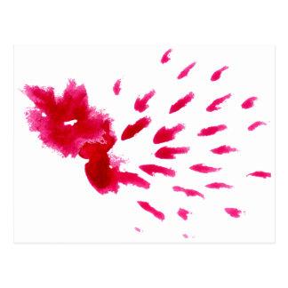 Carte Postale Rose coloré de course de peinture