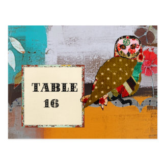Carte postale rose de carte de Tableau de hibou