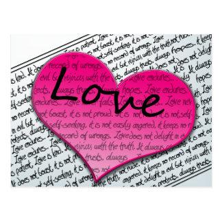 Carte Postale Rose de coeurs des Corinthiens 13 de l'amour 1