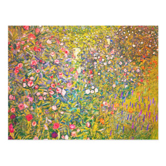 Carte postale rose de fleurs de Gustav Klimt