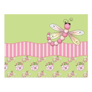 Carte postale rose de libellule