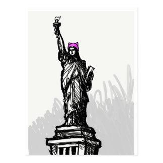 Carte postale rose de liberté de casquette