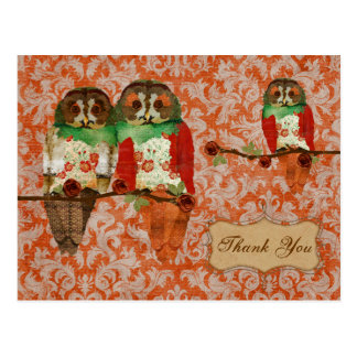 Carte postale rose de Merci de damassé de hiboux