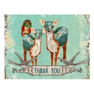 Carte postale rose de Merci de hibou et de cerfs c