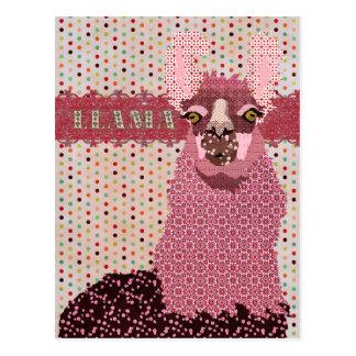 Carte postale rose de Pokadot de lama