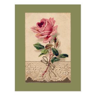 Carte Postale Rose de rose et cru Romance floral de dentelle