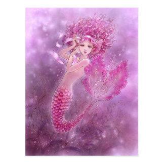 Carte postale rose de sirène de ruban