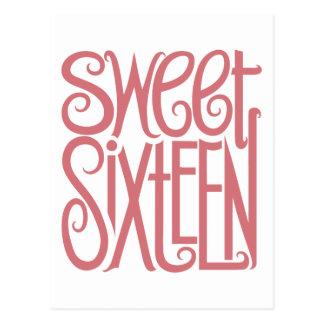 Carte postale rose de sweet sixteen