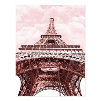 Carte postale rose de Tour Eiffel