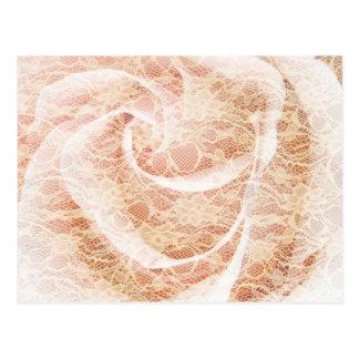 Carte Postale Rose et dentelle de rose