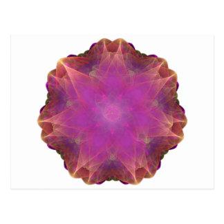 Carte Postale rose et mandala de fractale de coeur activé par