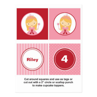 Carte Postale Rose et princesse blonde rouge Cupcake Toppers
