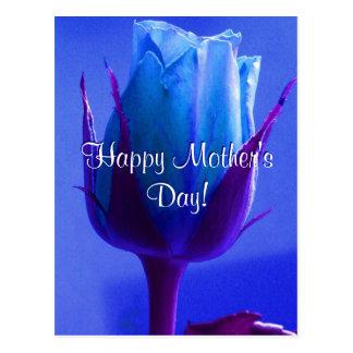Carte Postale Rose heureux de bleu du jour de mère