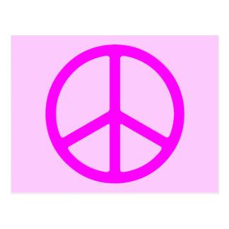 Carte postale rose maigre de signe de paix
