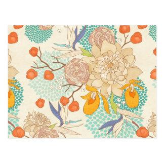 Carte postale rose moderne de motif de fleur de