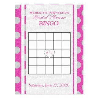 Carte Postale Rose nuptiale et argent du bingo-test | de douche